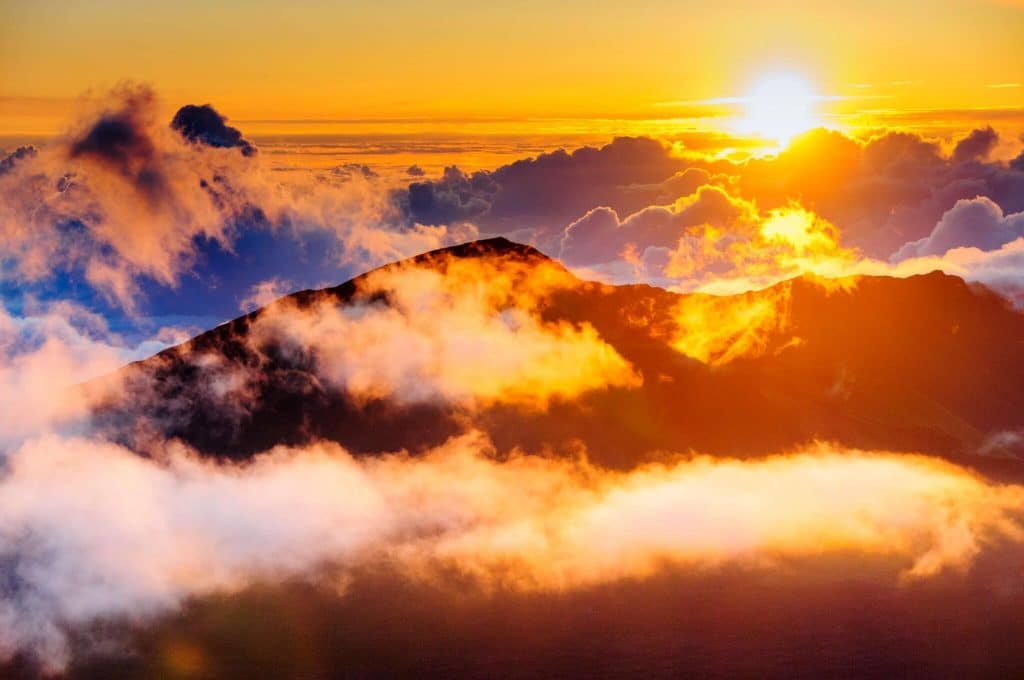 sunrise from on top of Haleakala Crater, Maui, Hawaii, USA